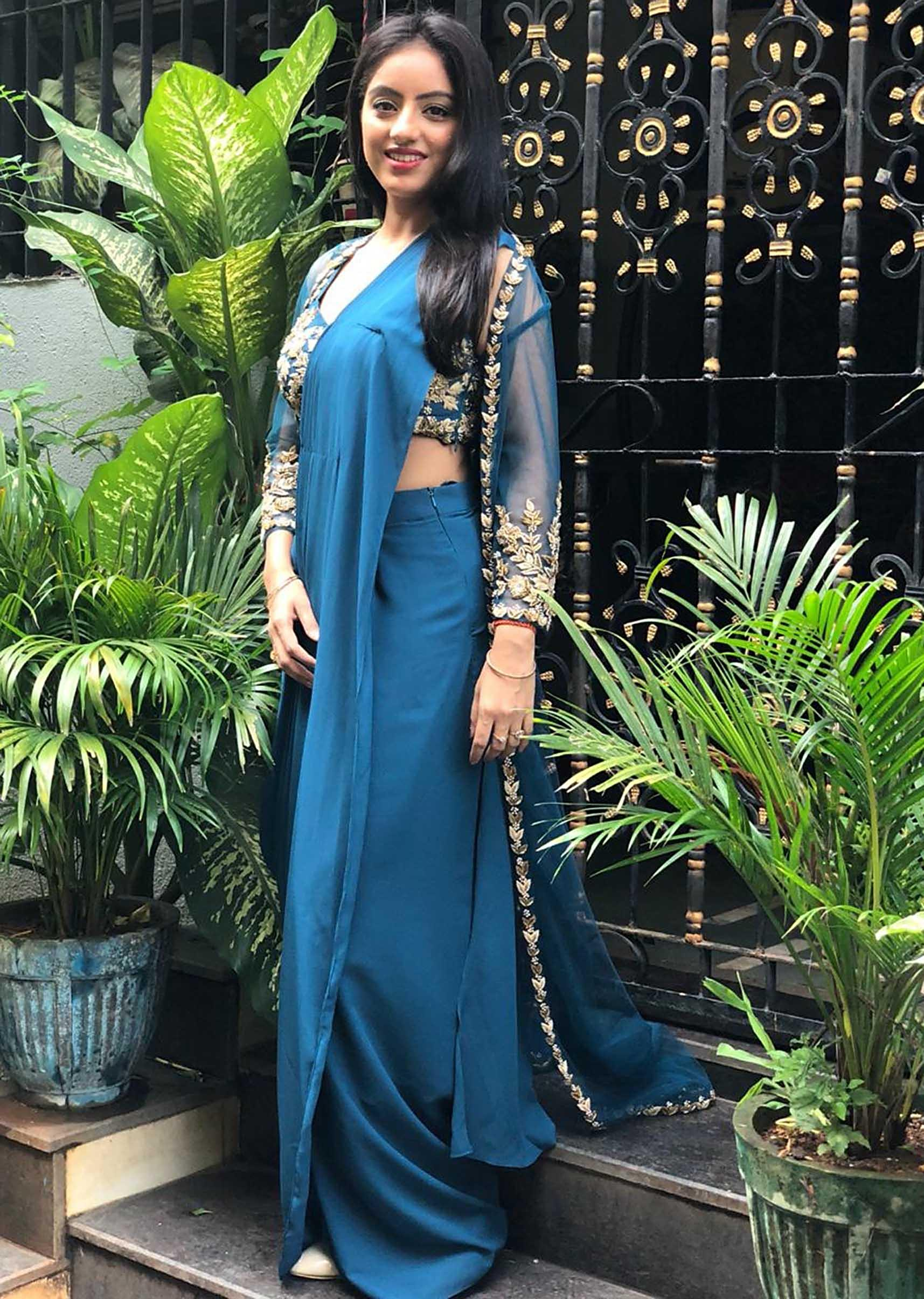 c79ec44d6 Deepika Singh in Kalki embroidered crop top with draped skirt and jacket  only on KalkiMore Detail