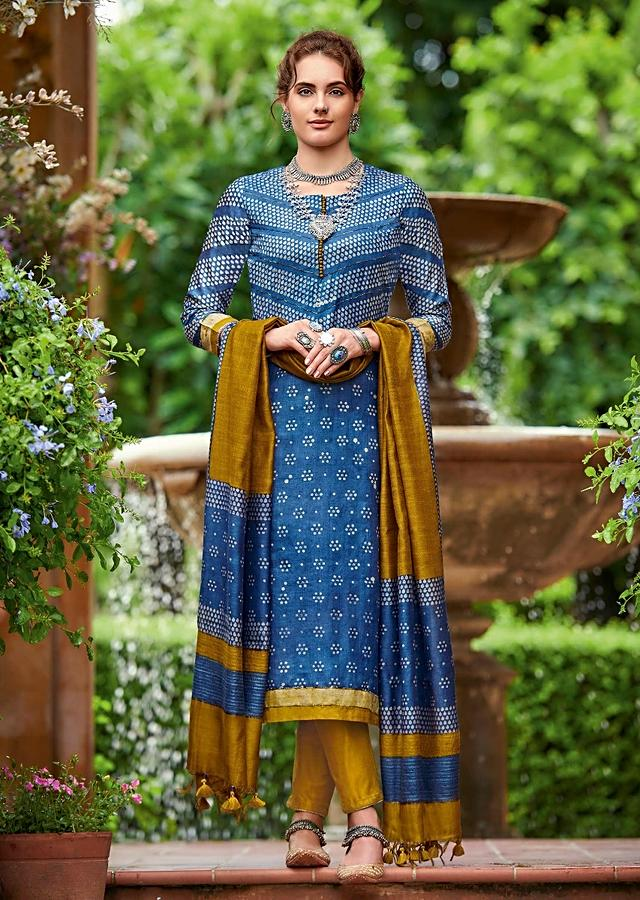 Denim Blue Straight Cut Suit In Tussar Silk With Batik Print In Drop Motifs Online - Kalki Fashion