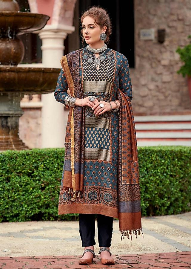 Denim Blue Straight Cut Suit In Tussar Silk With Printed In Geometric And Floral Pattern Online - Kalki Fashion