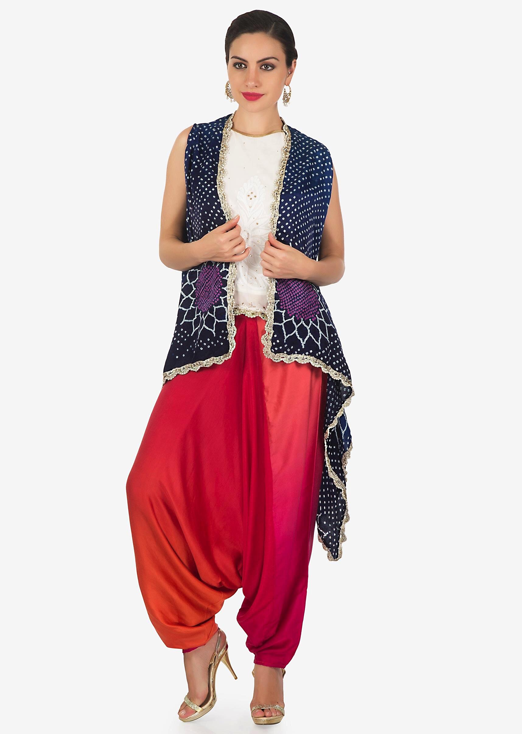 690cbaab4daf9 Dhoti set featuring with lucknowi work top and bandhani printed jacket only  on KalkiMore Detail