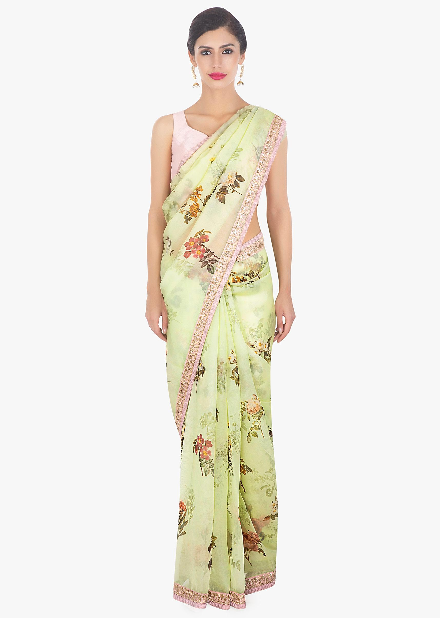 38e4eea0a3 Digital floral printed organza green saree only on Kalki
