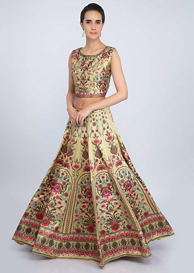 Golden Lehenga Set In Satin With Digital Print Online - Kalki Fashion