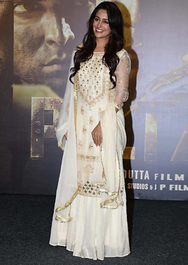 Dipika Kakar in Kalki cream organza suit embellished in zardosi, resham and moti work