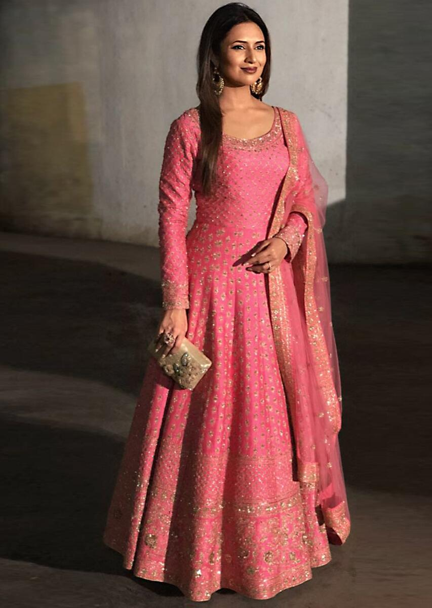 0b23291f077a Divyanka Tripathi in Kalki candy pink anarkali suit adorn in delicate zari  embroidery all overMore Detail