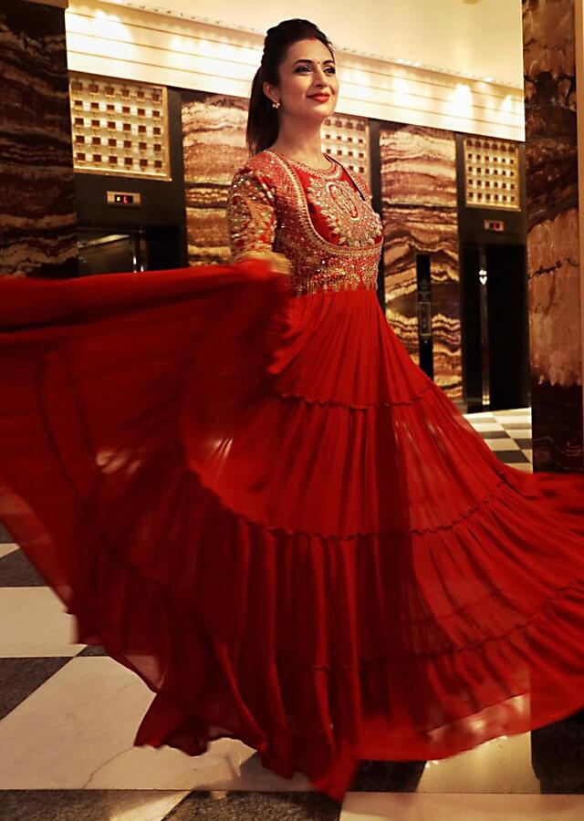 Divyanka Tripathi in Kalki Scarlet Red Indowestern Gown With Hand Embroidered Bodice And Tiered Silhouette