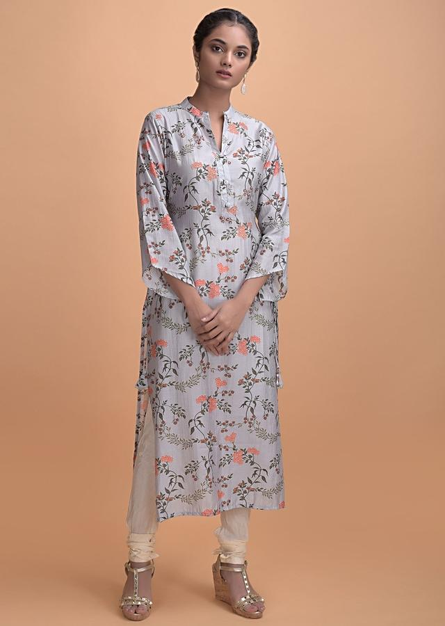 Dolphin Grey Kurti In Cotton With Floral Print Online - Kalki Fashion