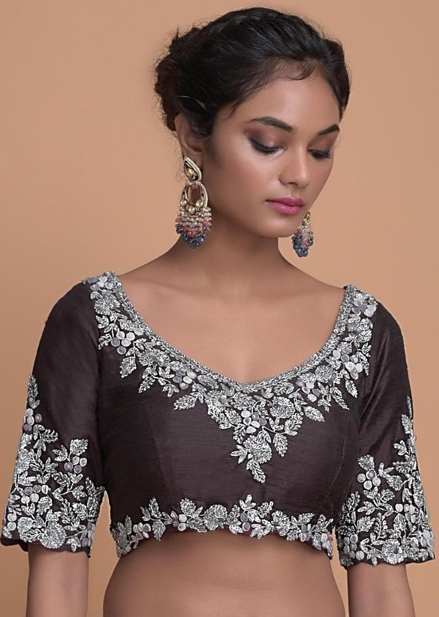 Dolphin Grey Saree In Organza With Embroidered Buttis And Border Online - Kalki Fashion
