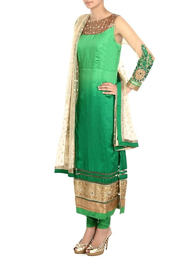 Green Suit With Ombre Effect And Mirror And Sequins Embroidery Online - Kalki Fashion