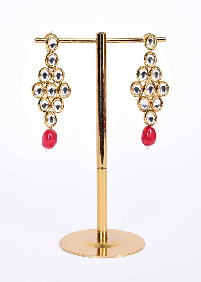 Double kundan layer round collar necklace with matching  earring in magenta bead drop only on Kalki