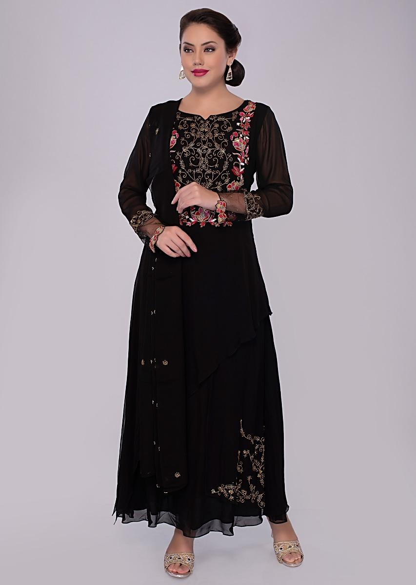 0772cd5fbd Double layer black georgette suit with embroidered neckline only on kalkiMore  Detail