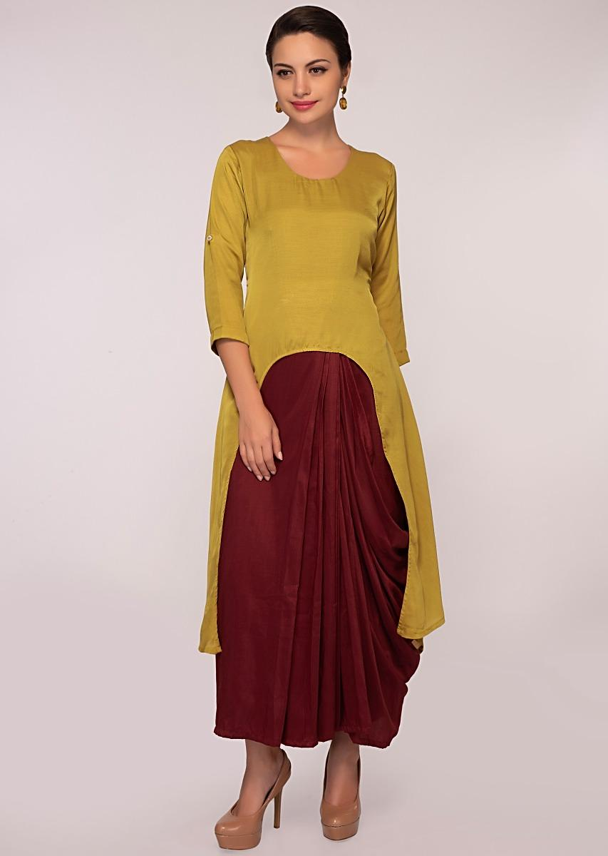 78b9666105 Double layer fancy suit in shades of maroon and fawn green only on Kalki  More Detail