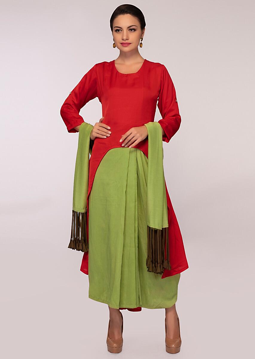 a6e9996cde Double layer fancy suit in shades of red and olive green only on Kalki More  Detail