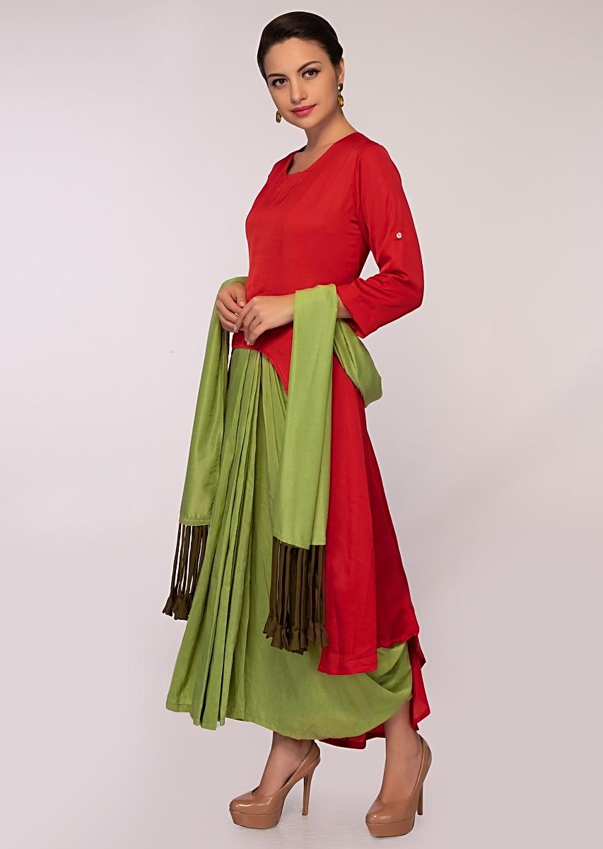 8e0eb265a7 Double layer fancy suit in shades of red and olive green only on Kalki