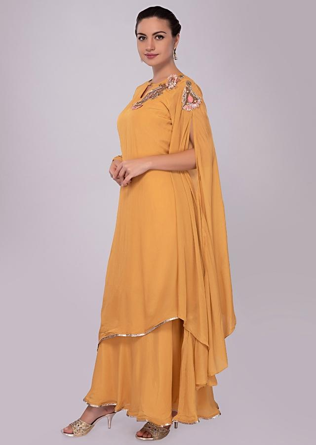Mustard Tunic Dress With Fancy Flared Sleeves And Double Layers Online - Kalki Fashion