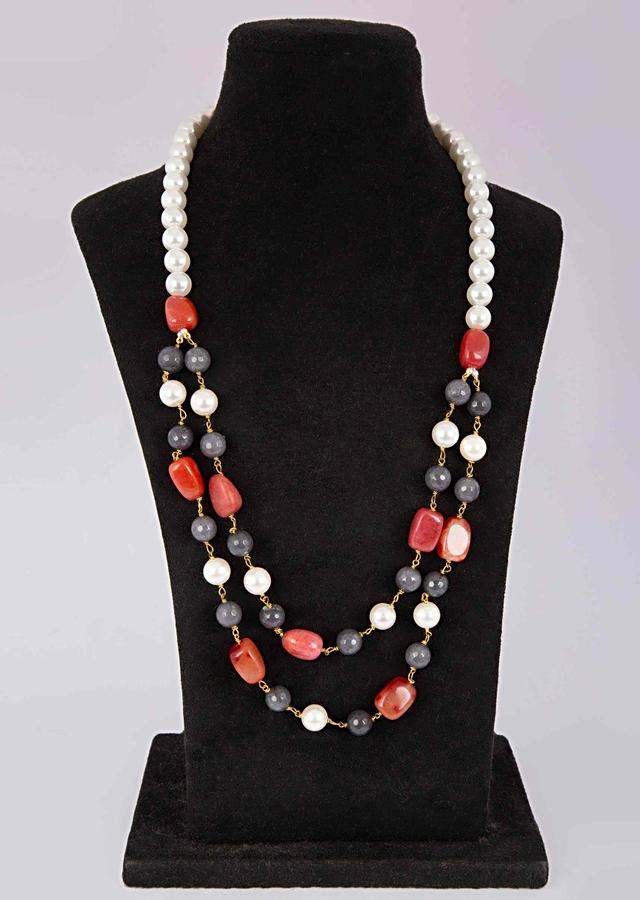 Double Layer Traditional Necklace In White Pearls, Grey Beads And Red Stones Online - Kalki Fashion