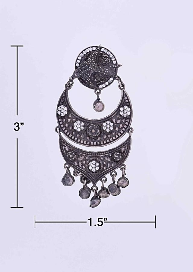 Double oxidized chandbali earring with stone work only on Kalki