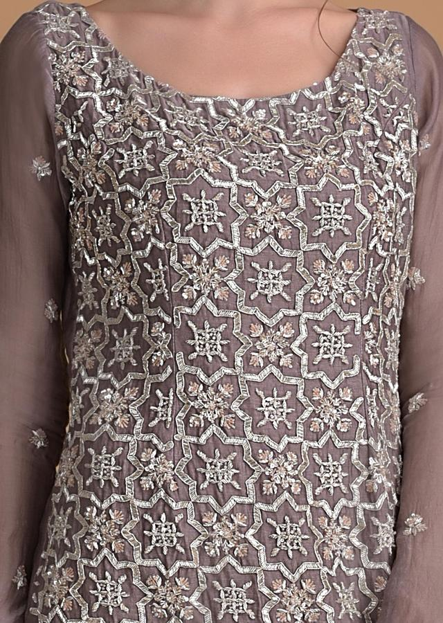 Dove Grey Sharara Suit With Embroidery Work In Moroccan And Floral Motifs Online - Kalki Fashion