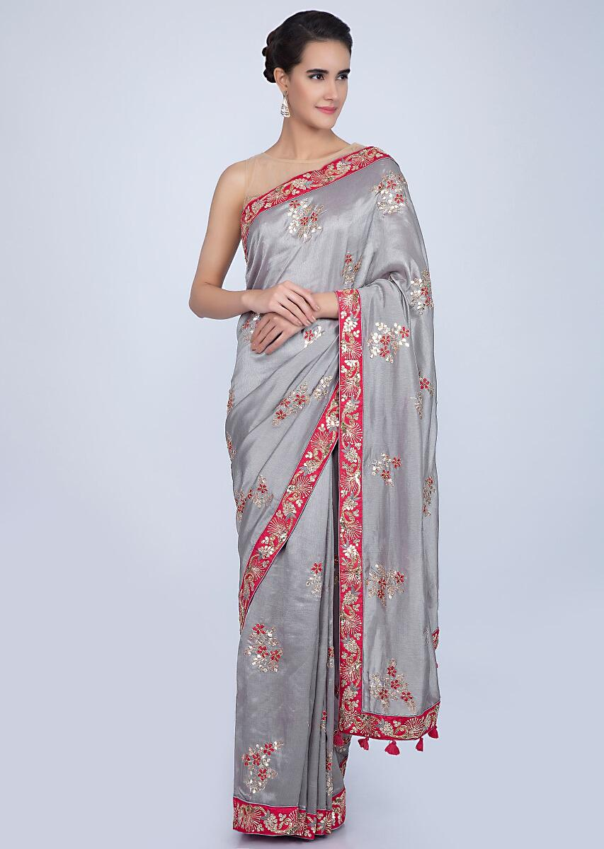 7792142a5c734 Dove grey silk saree with floral embroidered butti and border only on KalkiMore  Detail