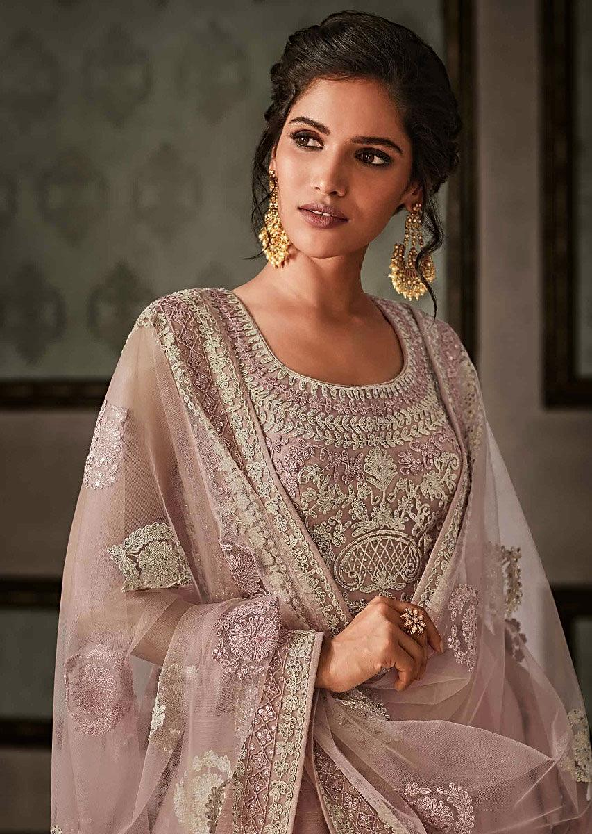 f394677c79c Dull pink anarkali suit featuring in raw silk with code thread embroidery