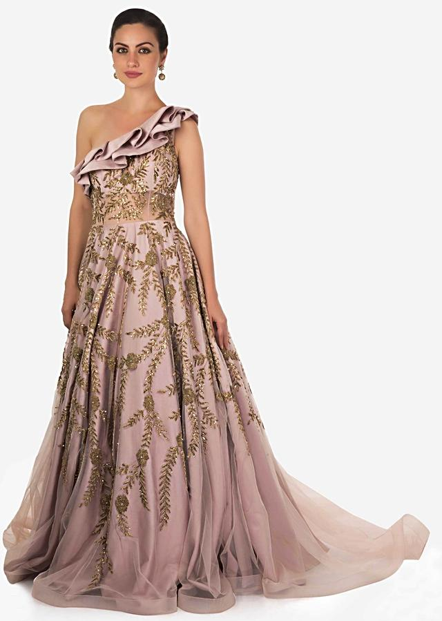 Dull grey gown in net with ruffled neckline and long trail only on Kalki