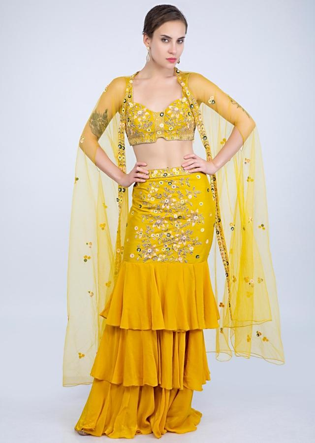 Dustan Sun Mustard Frill Skirt With Matching Crop Top Along With A Cape Style Jacket Online - Kalki Fashion