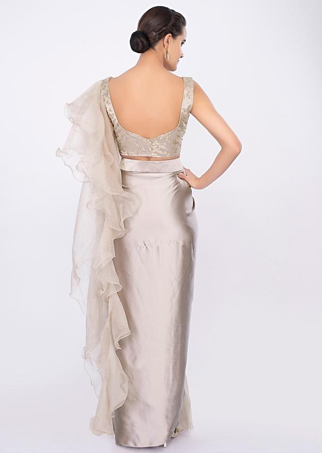 Champagne Gold Ready Pleated Saree With Organza Side Drape Online - Kalki Fashion