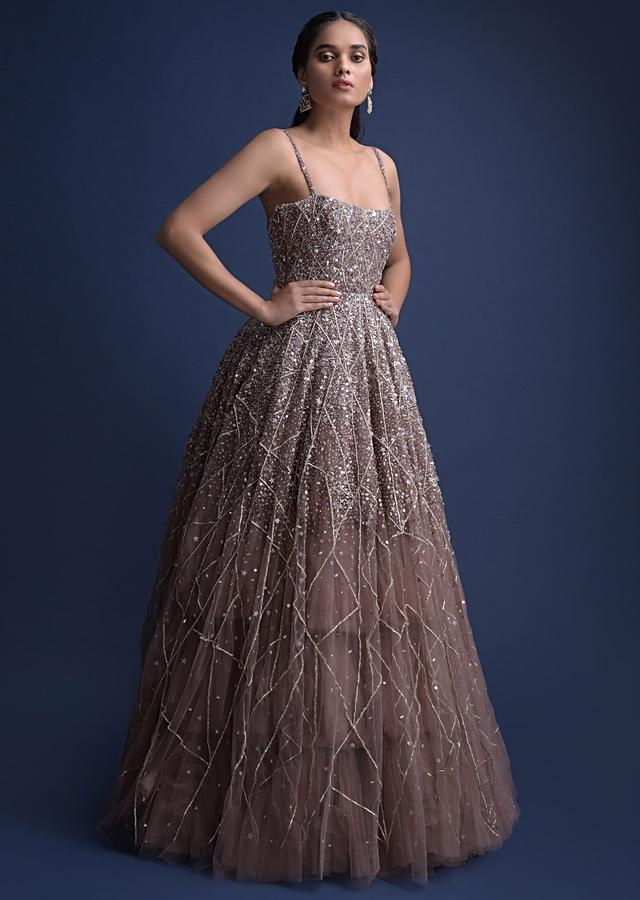 Eve Champagne Gown In Hand Embellished Net With Geometric Motifs Online - Kalki Fashion