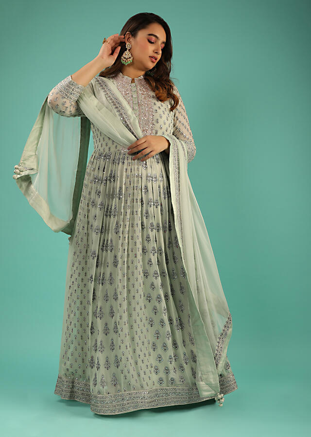 Dusty Green Anarkali Suit In Georgette With Resham And Mirror Embroidered Floral Buttis And Chiffon Dupatta Online - Kalki Fashion