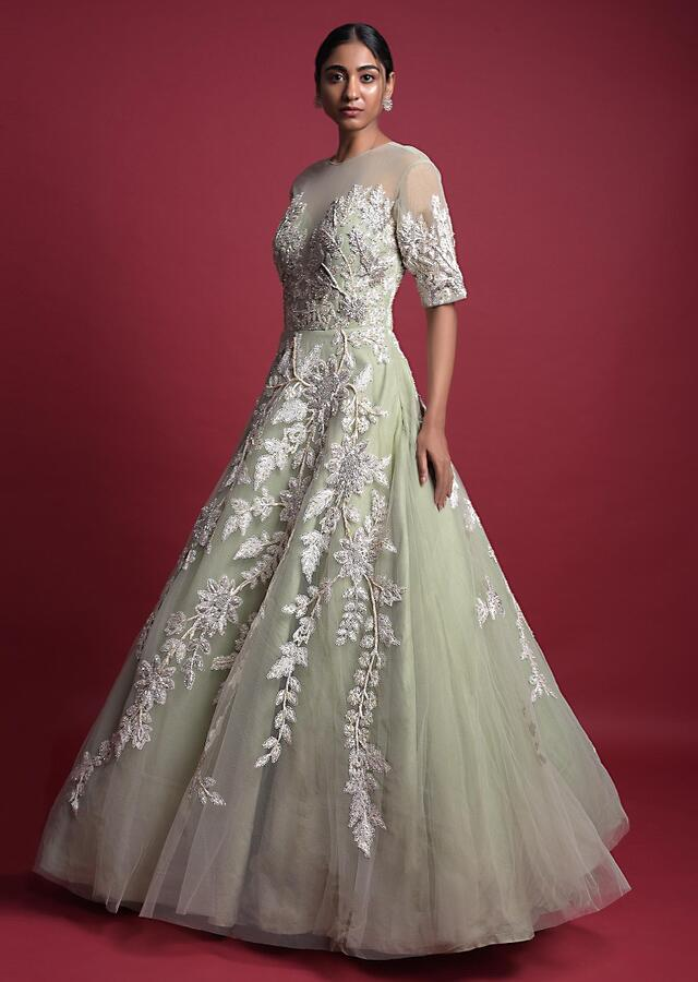 Dusty Green Ball Gown In Net With Embroidered Floral Pattern Online - Kalki Fashion