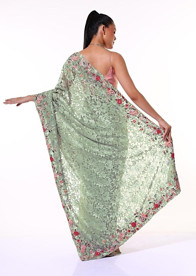 Dusty Green Half And Half Saree In Satin Crepe With Floral Lace Pallu Adorned In Colorful Resham Embroidered Border Online - Kalki Fashion