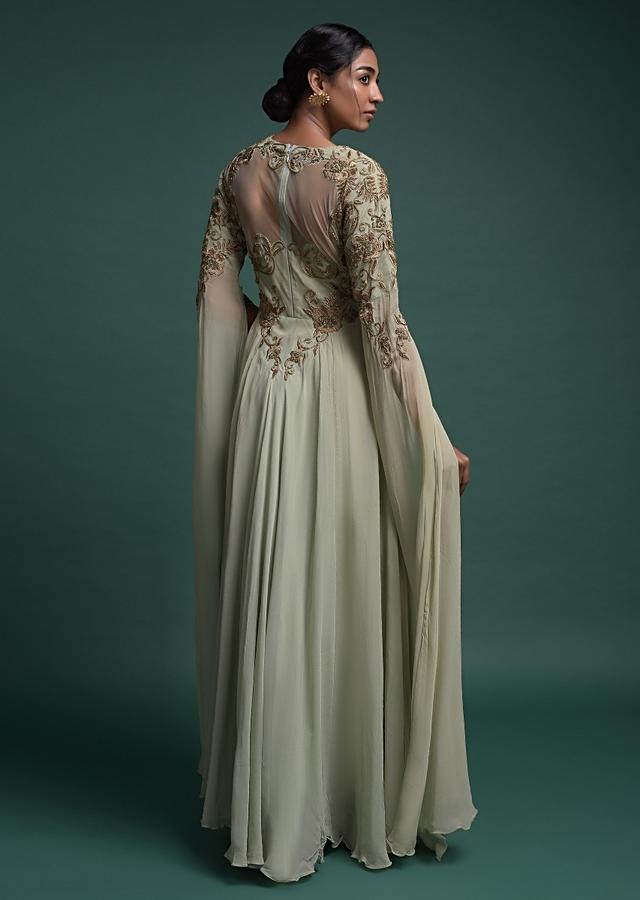 Dusty Green Indowestern Gown In Georgette With Extended Floor Length Sleeves Online - Kalki Fashion