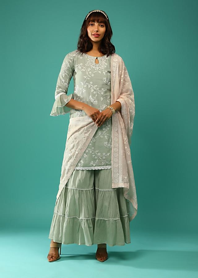 Dusty Green Sharara Suit In Cotton With Resham Embroidered Floral Jaal And Ruffle Sleeve Detailing Online - Kalki Fashion