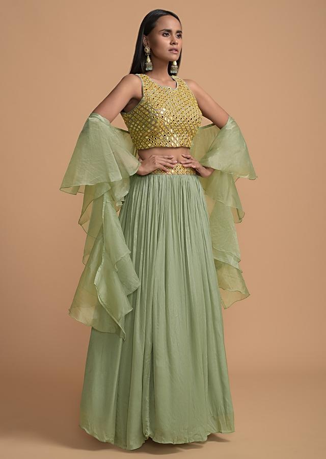 Dusty Green Skirt And Crop Top With Mirror Abla Work And Ruffle Dupatta Online - Kalki Fashion