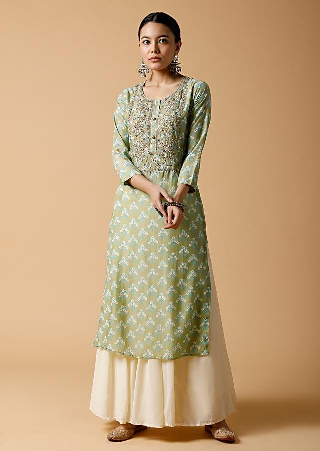 Dusty Green Straight Cut Kurti In Cotton With Floral Print And Thread Work Detailing On The Yoke Online - Kalki Fashion