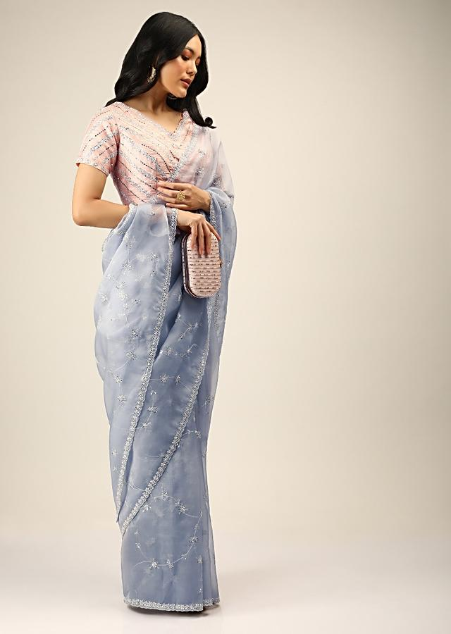 Dusty Lavender Saree In Organza With Mirror Embroidered Floral Jaal And Peach Ready Blouse Online - Kalki Fashion