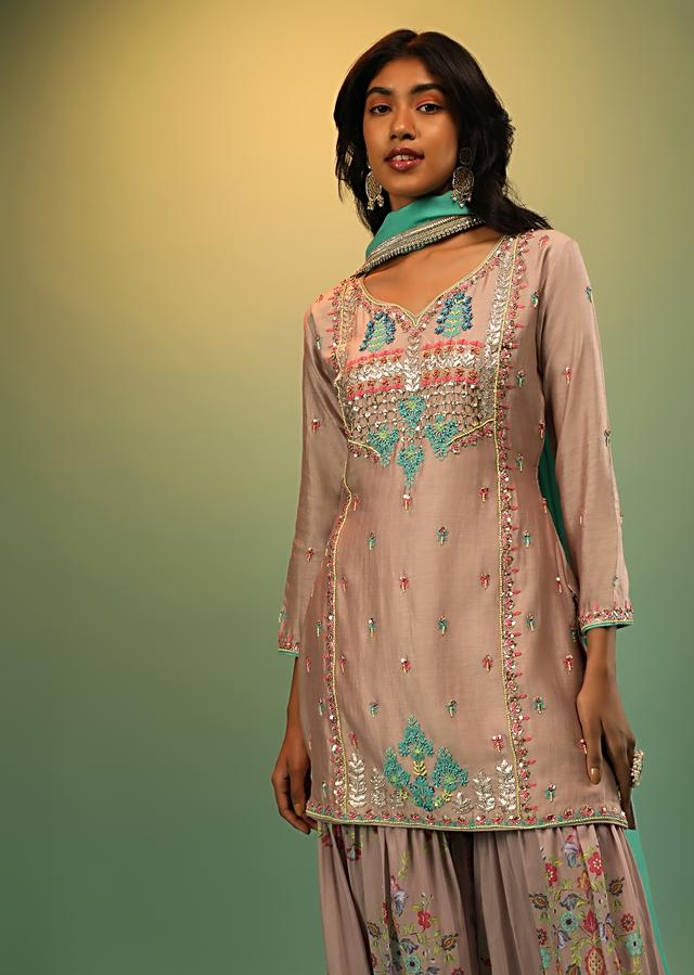 Dusty Mauve Sharara Suit In Cotton Silk With Multi Colored Resham Embroidery And Printed Sharara Pants Online - Kalki Fashion