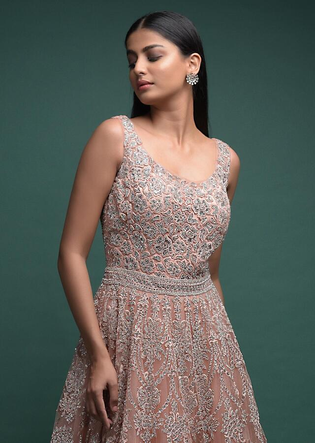 Dusty Peach Ball Gown In Net With Thread And Kundan Embellished Floral Pattern Online - Kalki Fashion