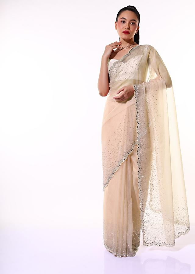 Dusty Peach Saree In Organza With Mirror Embroidered Scallop Border Along With Flower Shaped Sequins Online - Kalki Fashion