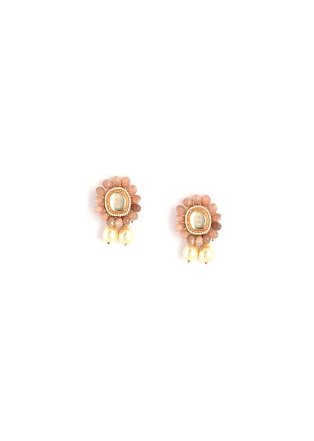 Dusty Peach Semi Precious Stone Earrings In Floral Motif With Kundan Centre And Dangling Pearl Drops By Kohar