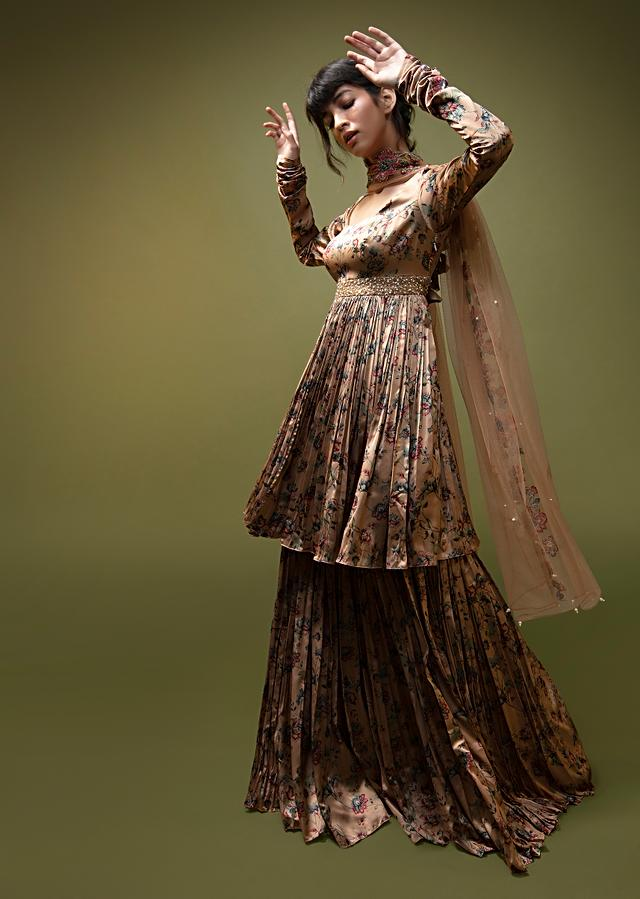 Dusty Peach Sharara Suit In Satin With A Front Slit Peplum Kurti And Moti Accented Waistline Online - Kalki Fashion