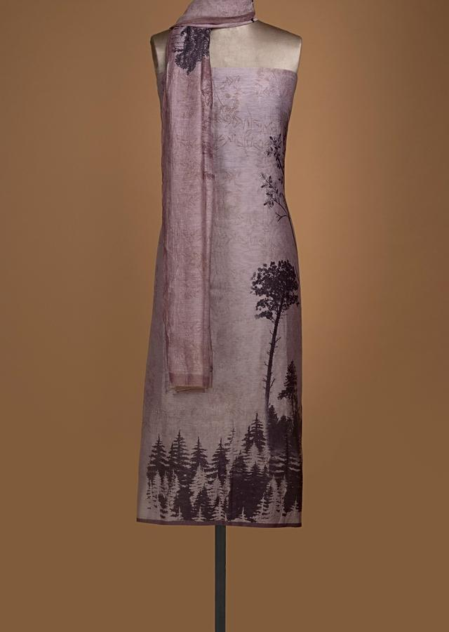 Dusty Peach Unstitched Suit In Linen With Printed Tree Motifs Online - Kalki Fashion