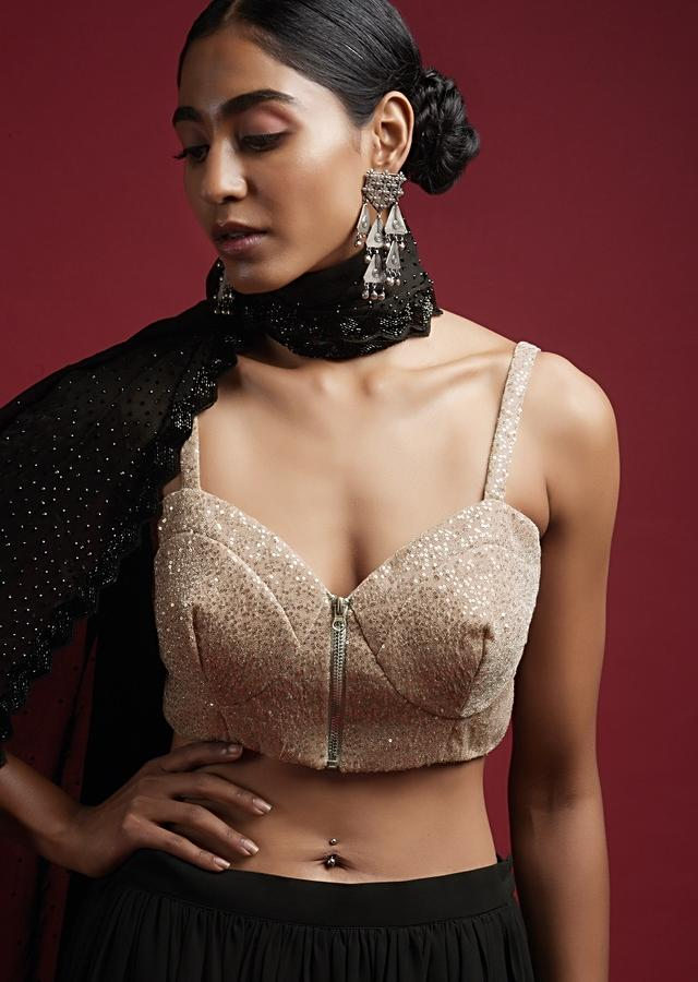 Dusty Pink Corset Blouse In Sequins Fabric With Front Zip Closure Online - Kalki Fashion