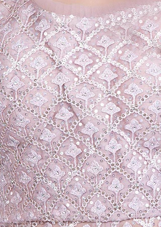 Dusty Pink Lehenga Set In Embroidered Net With Floral Embroidery Online - Kalki Fashion