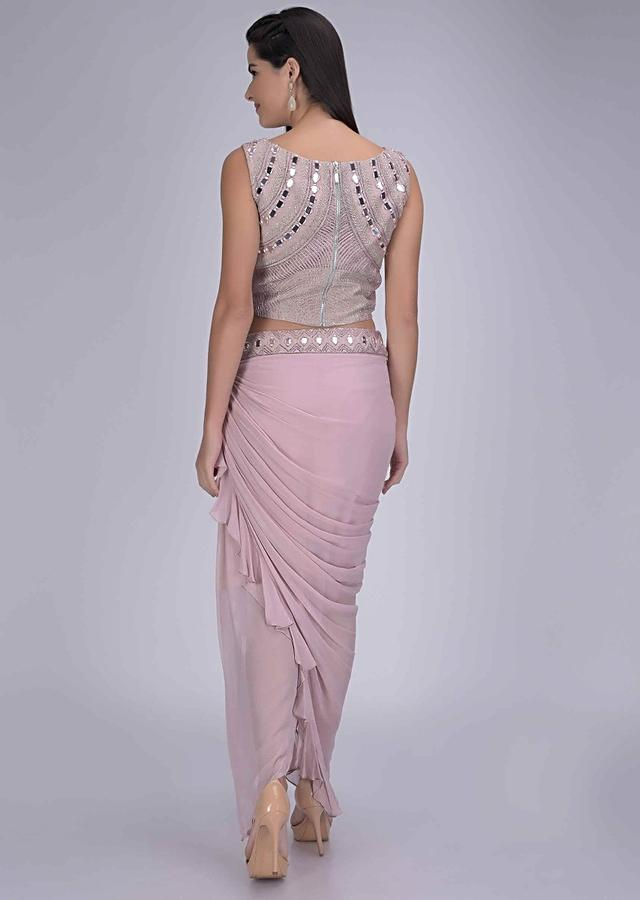 Dusty Pink Fancy Skirt In Georgette And Embellished Raw Silk Crop Top Online - Kalki Fashion