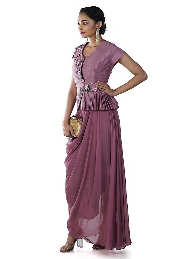 Dusty Pink Peplum Jacket Style Draped Gown With Floral Embroidery Online - Kalki Fashion