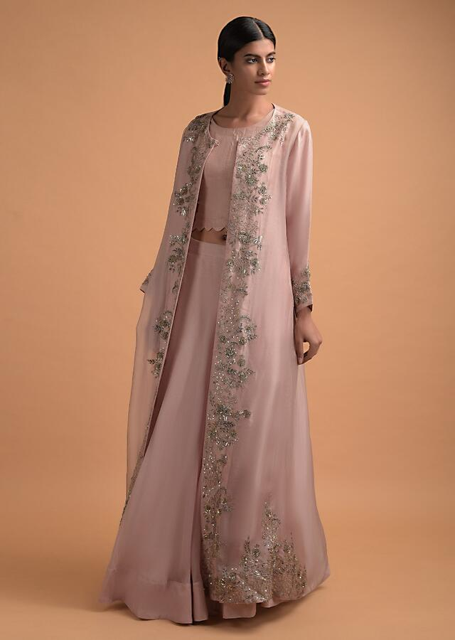 Dusty Pink Plain Skirt And Crop Top With A Matching Long Jacket With Floral Embroidery Online - Kalki Fashion