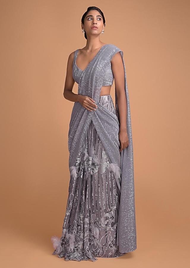 Cloud Grey Ready Pleated Saree Embellished With Sequins And Feathers Online - Kalki Fashion