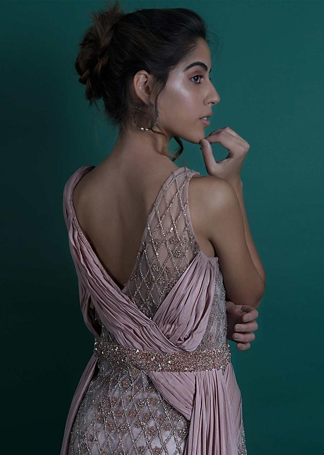 Dusty Pink Gown In Sheer Net With Velvet Under Layer Online - Kalki Fashion