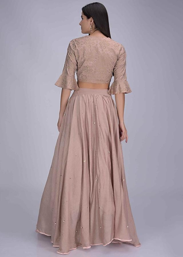 Dusty Rose Pink Lehenga In Cotton With Cotton Silk Blouse Enhanced With Foil Print Online - Kalki Fashion
