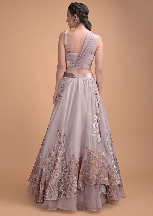 Dusty Rose Pink Lehenga Choli In Organza With Velvet And Silk Patchwork In Floral Motifs Online - Kalki Fashion